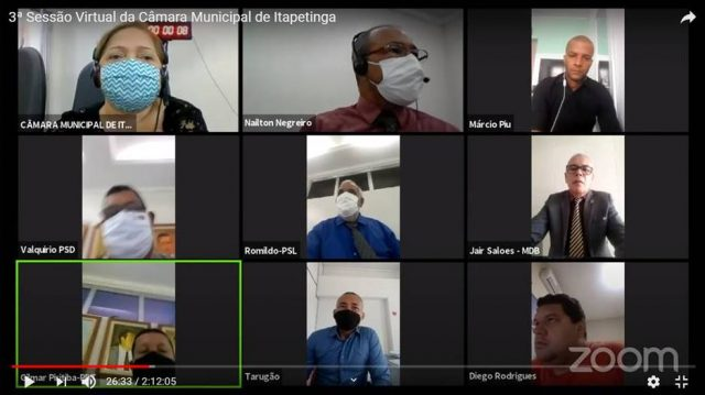 Sessão virtual: Câmara discute ações de combate ao coronavírus em Itapetinga