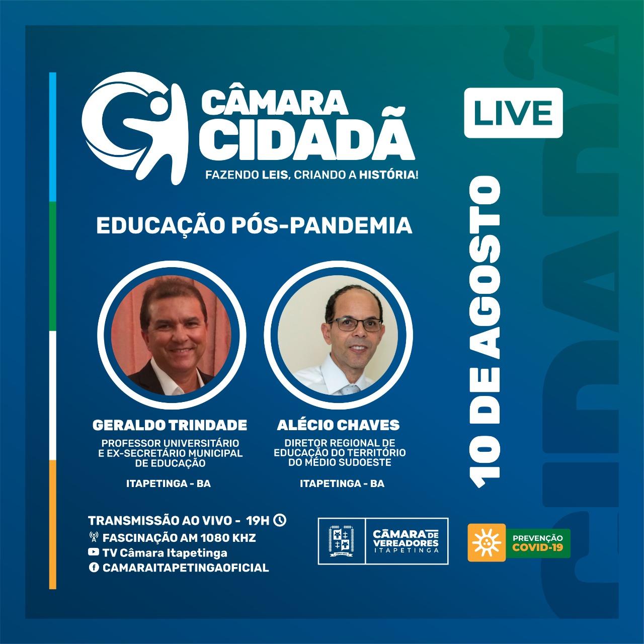 Itapetinga: Câmara Cidadã vai discutir educação pós-pandemia