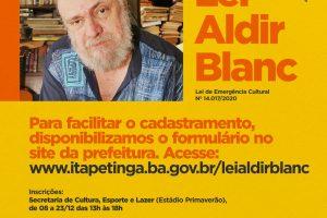 Itapetinga registrou mais de 180 inscrições em edital da Lei Aldir Blanc