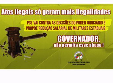Proposta da PGE pretende reduzir salário de militares estaduais