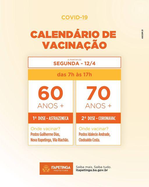 Itapetinga: Calendário de Vacinação